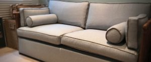Home sofa with upholstered pillows