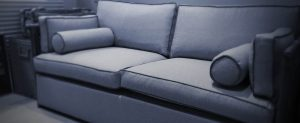 Home sofa upholstered with material