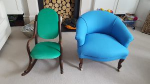 Green chair and blue armchair upholstered