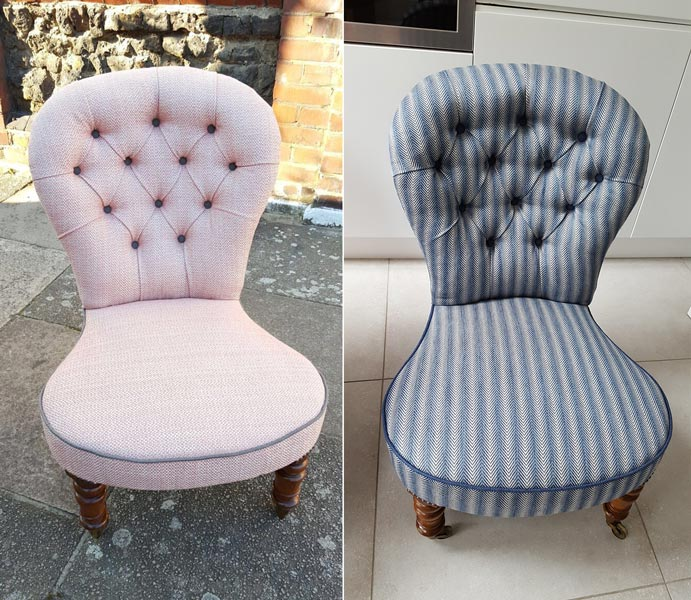 Two seats upholstered in modern style
